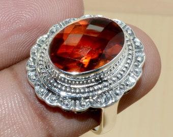 Jewels House Whisky Quartz Oval Gemstone Silver Plated Handmade Bezel Set Statement Ring US-8