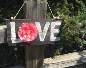 "Rustic, reclaimed wood fence style ""love"" wall hanging"