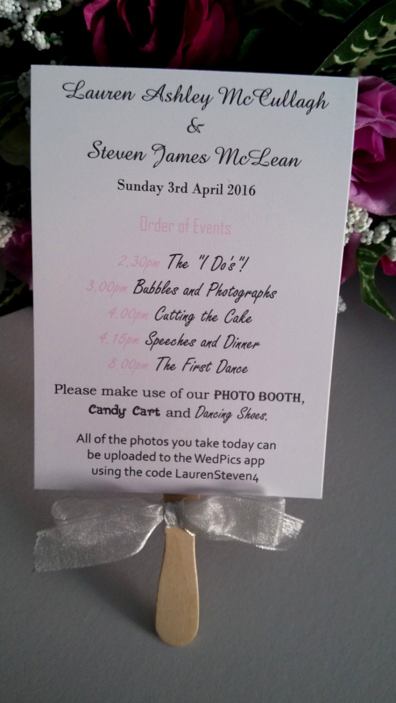 Paddle Fan Order of the Day Wedding Order of Service Programs with guest list and order of the day details