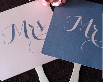 Wedding invitation kits etsy uk mr and or mrs wedding day game paddle fan navy blue dusky pink fun wedding stopboris Images