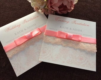 Lace, Ribbon and rose pocket fold wedding invitations with dior bow and diamante jewel