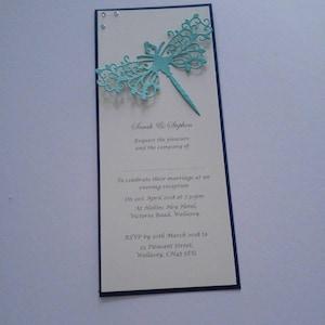 Dragonfly diamante embellished wedding vow renewal postcard wedding invitations with envelopes