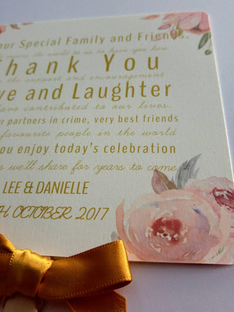 Floral Paddle Fan Gold Pink wedding order of service order of the day  programs with guest list and order of the day details and thank you