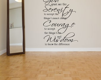 Wall Vinyl Sticker God Grant Me Prayer Christ Quote Phrase Words Serenity Courage Wisdom Emblem Poster Sign Decal Wall Art Decor ZX628