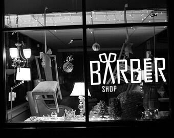 Removable Vinyl Sticker Mural Decal Art Outdoor Indoor Business Barber Shop Chair Hair Beauty Salon Spa Sign Logo Emblem Comb Words  SA008