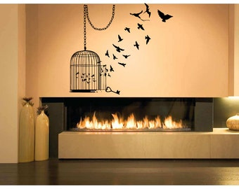 Wall Art Vinyl Sticker Bird Cage Chain Key Fly Many Birds Couple Set Tree Brench Forest Hummingbird Small Canary Parrot Birdcage ZX648