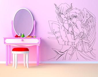 Wall Art Vinyl Sticker Angel Demon Couple Love Devil Fallen Spawn Heaven Paradise Wings Anime Poster Guy Feathers ZX172