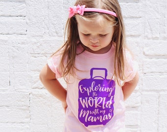 Exploring The World With My Mamas kids T-shirt, Unisex, Kids Clothing, Baby Clothing, Two Moms, Two Mamas, Same Sex Parents, LGBTQ Family