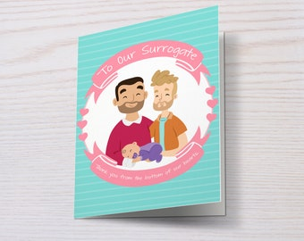 Surrogacy Card, Surrogate Card, Surrogacy, Thank You, Same Sex Parents, Gay Parents, Two Dads, Two Daddies, Gay Dads, LGBT Parents, Love