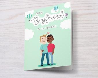 Happy Birthday To My Boyfriend/Fiancé/Husband, Gay Birthday Card, Boyfriend Birthday Card, Gay Couple, LGBT Birthday Card, LGBT, Gay Card