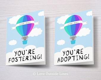 Foster Card, Adoption Card, Fostering, Adopting, Foster Parents, Adoptive Parents, Same Sex Parents, Congratulations, Adopt, Foster