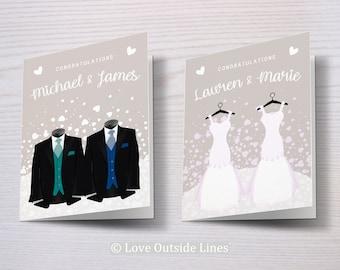 Custom Same Sex Wedding Card, Gay Wedding Card, Lesbian Wedding Card, Mr and Mr, Mrs and Mrs, Gay Wedding, Gay Couple, Lesbian Couple, LGBTQ