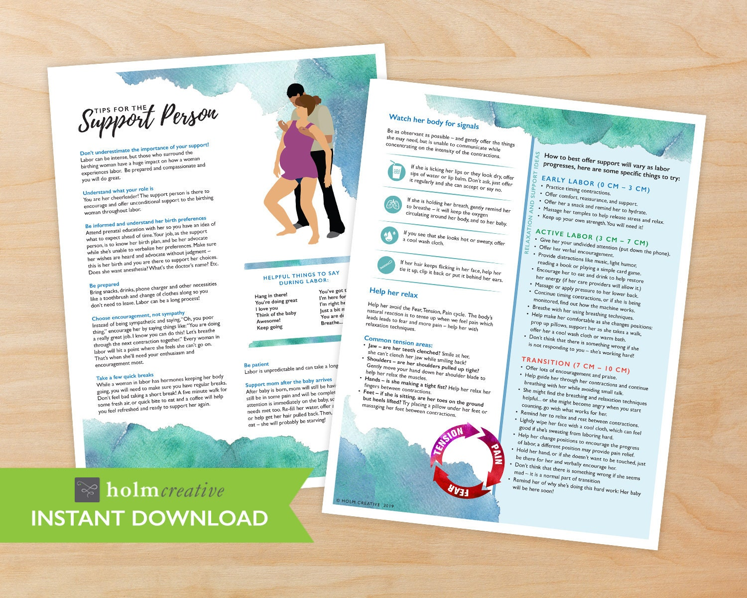 Tips for the Support Person during Childbirth, Birth Education Handout -  Digital PDF - Resource for Childbirth Educators and Doulas