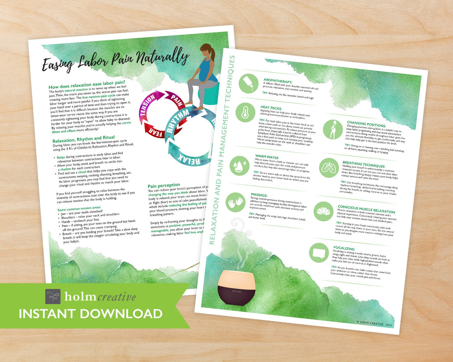 Easing Labor Pain, Birth Education Handout - Digital PDF - Resource for  Childbirth Educators and Doulas
