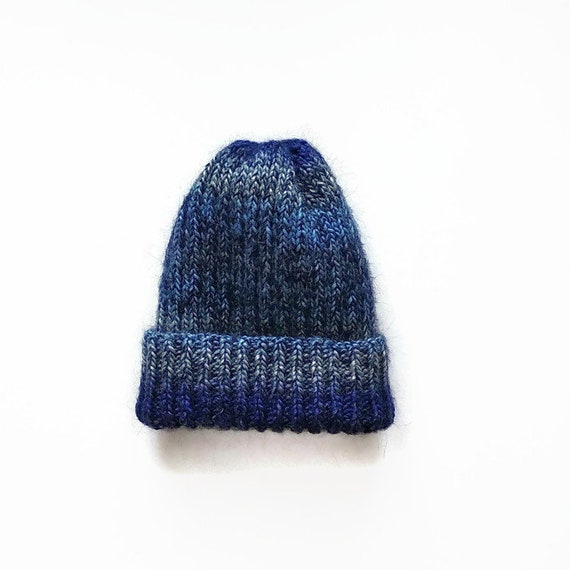 3fc9627949a Knit winter warm navy blue mohair hat Knitting soft beanie for