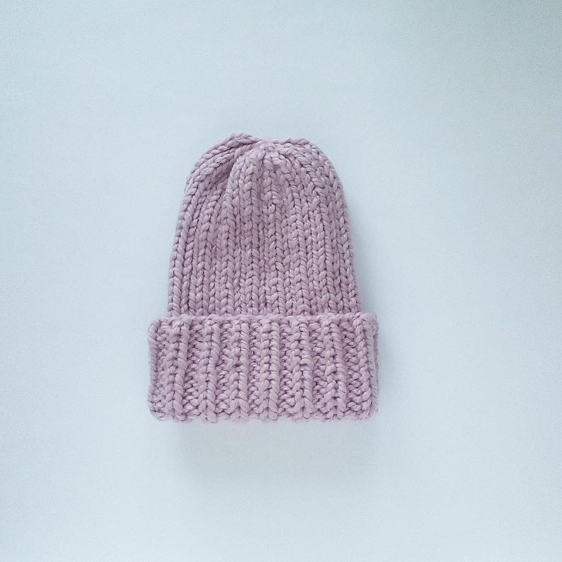 Hand knit wool beanie for women Winter knit hat Chunky light dusty rose knit hat Slouchy homemade beanie Knitted Knit beanie homemade hats