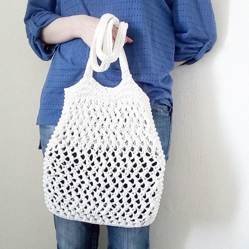 Net Bag Market Tote Bag French Market Bag Beach bag Shopper bag Hand knit mesh bag Farmers market tote Handbag handmade Knit cotton bag