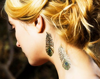 Peacock Metallic Gold Feather Temporary Tattoos by PAPERSELF Tattoo Me