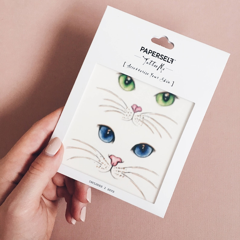 acf0b2428 Cat Eyes Temporary Tattoo by PAPERSELF | Etsy