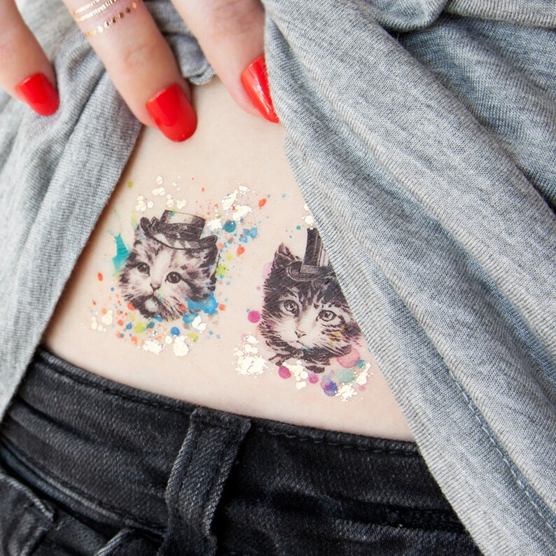 a2d0dde68 Kitten Brother Small Temporary Tattoos PAPERSELF Tattoo Me | Etsy