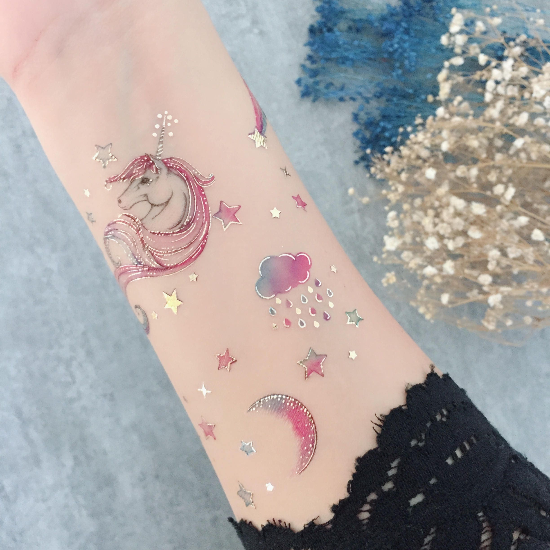 Unicorn Metallic Pastel Rainbow Temporary Tattoo Transfer Set | Etsy