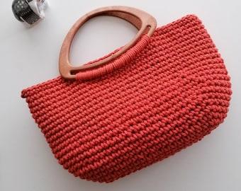 Handmade crochet bag / cotton burnt orange bag / unique gifts for mum / hand held top handle / retro style handbag