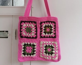 Pink crochet tote bag / granny square vintage retro style handbag / handmade gifts for her / 70's sustainable fashion