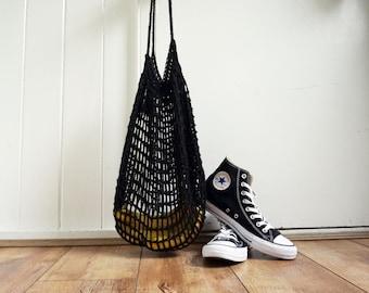Black hand crochet bag / 100% cotton market bag / sustainable fashion gift for her / strong beach bag/ shopping bag / string bag
