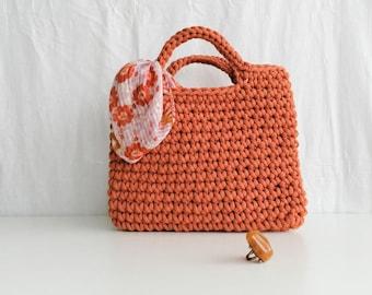 Cinnamon crochet grab bag/ cotton cord/ square bag/ top handle/ wrist style/ sustainable fashion/ day bag/ work bag/ autumnal colours/