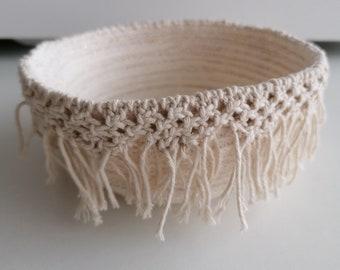 Macrame rope basket in cream / small cotton basket/ storage basket / craft storage / dorm room decor