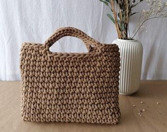 Caramel colour crochet grab bag/ square shape/ wristlet style/ tophandle/ handmade using cotton cord/ grab bag/ small shopper or day bag