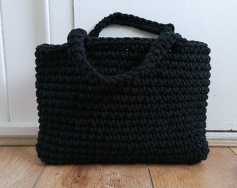 Black crochet bag / day bag / sustainable fashion / grab bag / gifts for her
