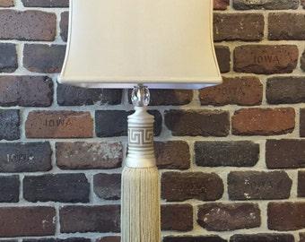White Greek Key Tassel Lamp