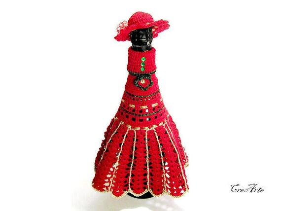 Crochet vestido para botella de Champagne botella cubierta
