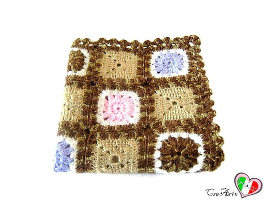 Brown crochet cover for pillow cover con piastrelle marrone etsy