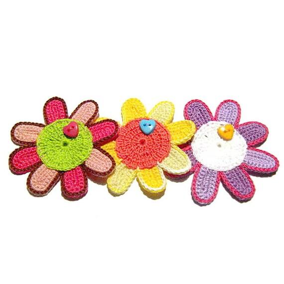 Set 6 colorful crochet flower appliques 2.3 inc Made in Italy Set 6 applicazioni fiori colorati all/'uncinetto