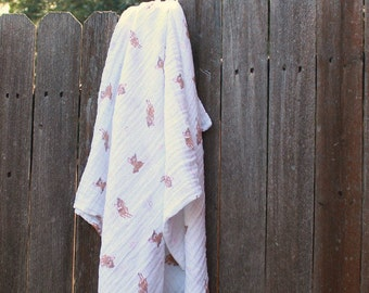 Personalized Ivory Muslin Swaddle Blanket-Solid Ivory-Baby Swaddle-Nursing Cover-Receiving Blanket-Embroidered-Monogrammed