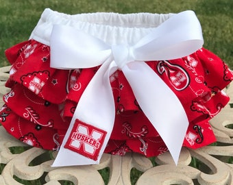 Nebraska Ruffled Diaper Cover-Baby Bloomers-Cornhuskers-Game Day Outfit-Newborn Photo Prop-Birthday Outfit-Cake Smash Outfit