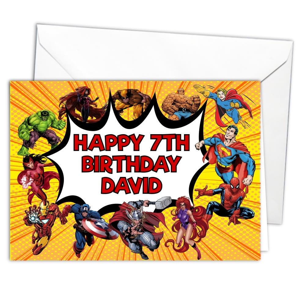 Personalised Glossy Superhero Birthday Card A5 With Envelope Etsy