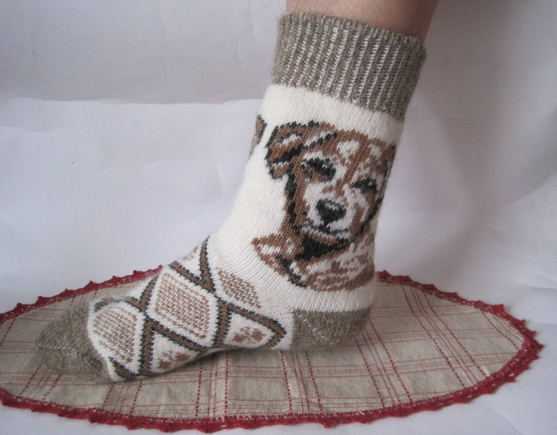 Discount Nordic Eco Friendly socks Beautiful form and Good Quality of Angora wool yarn Knit pattern Dog Puppy Soft warm and comfortable