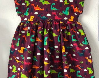 Dinosaur dress, dinosaur girls dress, spring dress, summer wardrobe, girls party dress, girls animal dress, occasion dress