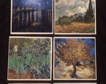 Van Gogh Inspired Drink Coasters | Set of 4 | Price Per Set | Choose Your 4 | Mix and Match
