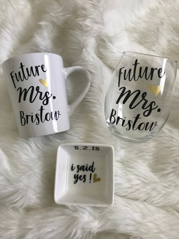 Coffee Mug Personalized Future Mrs engagement gift for her Gold Ring