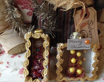2 paper and tinsel trim Christmas ornaments