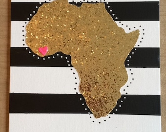 Black and while gold glitter state cutout canvas