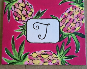 Lilly Pulitzer inspired spike the punch monogram pineapple canvas