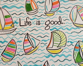 Lilly Pulitzer inspired you gotta regatta sailboat canvas