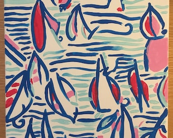 Red Right Return Lilly Pulitzer inspired sailboat canvas