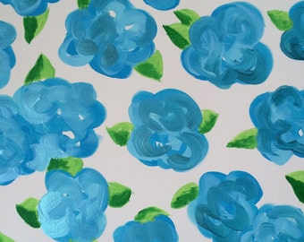 Lilly pulitzer inspired first impressions canvas in blue floral