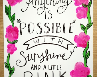 Lilly pulitzer inspired canvas cute pink sunshine quote
